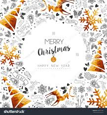 merry and happy new year frame with gold stock vector royalty free