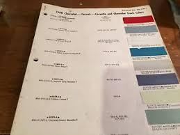 Details About 1960 Chevrolet Paint Chip Chart Original Corvair Corvette Truck Impala