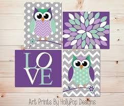 Owl Decor For Bedroom Owl Nursery Art Owl Decor Modern Nursery Art Quad Purple Mint
