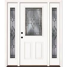 This Review Is From:63.5 In. X 81.625 Sapphire Patina 1/2 Lite  Unfinished Smooth Right-Hand Fiberglass Prehung Front Door With Sidelites The Home Depot