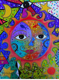 folk art painting mexican sun and moon couple love by prisarts