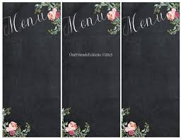 Chalkboard Menu Templates Printable Chalkboard Menu Chalkboard Wedding Party Menu