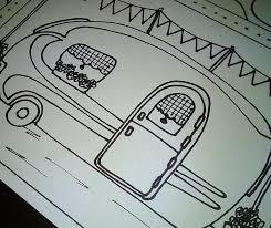 Campers Trailers Caravans Coloring Page Or Postcards Adult Etsy