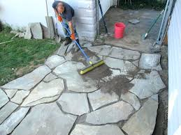 how to install flagstone patio typical cost per square foot installed concre