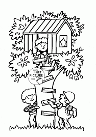 Tree House Summer Fun Coloring Page For Kids Seasons Coloring Pages