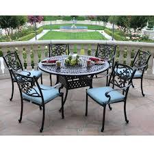 cast aluminum dining table cast aluminum 7 piece set with round table santa maria 60 in