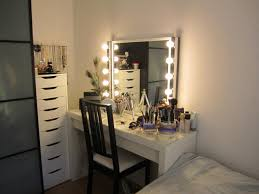 best lighting for makeup vanity. with lighted mirror and storage drawer cabinet plus black stained wood armless chair back fashionable bedroom makeup vanity lights embedbath best lighting for