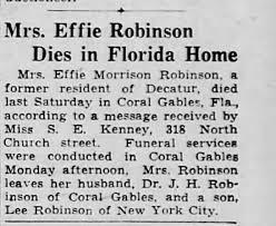 Effie Morrison Robinson Death - Newspapers.com
