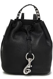Black Designer Backpack Studded Pebbled Leather Backpack