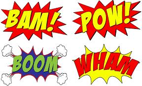 "Amazon.com: VWAQ Comic Book Set of 4 Wall Decal Sound Effects Comic Book  Bam Pow Boom Wham Pack of Superhero Vinyl Wall Art Peel and Stick Stickers  CB5 (10"" H X 16"""
