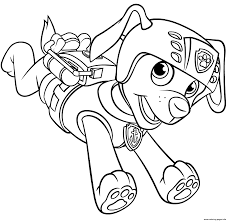 Zuma With Scuba Gear Backpack Paw Patrol Coloring Pages Printable