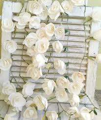 White Paper Flower Garland Tissue Paper Flower Garlands Set Of 6paper Roses Garlands Etsy