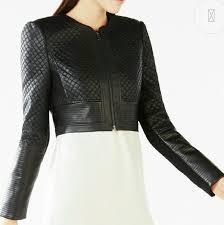 nwt bcbg cohen black faux leather jacket l