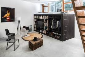 Bed With Tv Built In Bedroom Lofted Bed Closet Along With Dark Varnishes Wooden Loft