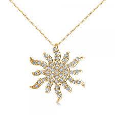 diamond starburst sun pendant necklace