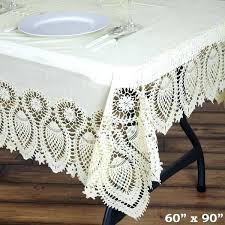 ivory disposable waterproof lace vinyl tablecloth protector 90 inch round clear tablecloths
