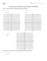 solving systems of equations by graphing worksheet answers new systems linear and quadratic equations worksheet doc