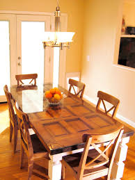 How To Make Kitchen Table How To Build A Dining Table From An Old Door And Posts Hgtv