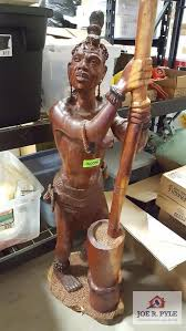 45 inch tall hand carved wooden african woman statue