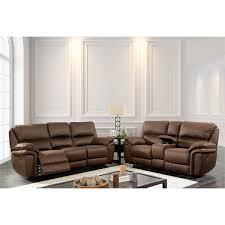 furniture of america ronda 2 piece faux leather reclining sofa set