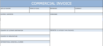 Printable Commercial Invoice Download Standard Blank Commercial Invoice Template Excel Pdf