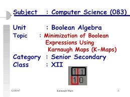 Minimization Of Boolean Functions Using Karnaugh Maps