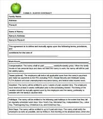 Sample Nanny Agreement Contract Part Time Template Uk Templates For ...
