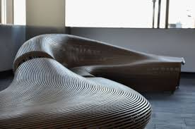 From: Sculptural Wooden Lobby Bench Like River  Spill