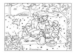 Small Picture Family Picnic Colouring Page