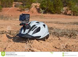 A Bike Helmet With An Action Camera Stock Image Image 56076075