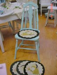 hand hooked chair pads vine rustic farmhouse country chic