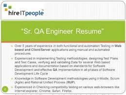 Sr QA Engineer Resume