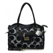 Coach Legacy Logo In Signature Medium Black Satchels BPQ
