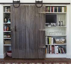 rustic interior barn doors. Rustic Sliding Barn Door In Kitchen Concealing Pantry Area To The Left And Tv With Cookbook Stemware Storage Right. Interior Doors