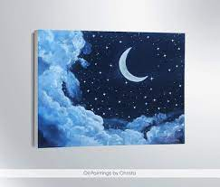 moon painting moon wall art art