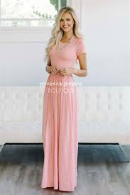 Solid Pastel Peach Maxi Modest Dress Best And Affordable Modest