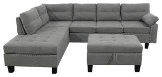 trexm grey sectional sofa set with