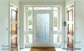 frosted glass front door for entry doors etched trees rustic style forest private modern designs