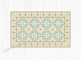 green vinyl mat vintage tiles with decorative frame linoleum area rug pvc floor mat