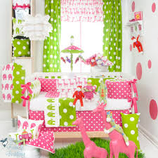 pink and lime green crib bedding designs