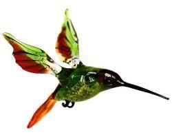 red green hummingbird figurine blown glass murano art animal bird miniature