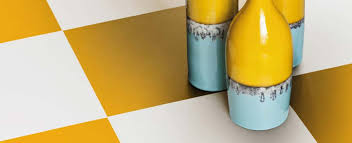 yellow and white checkerboard flooring