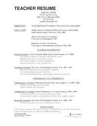 Kindergarten Teacher Resume Resume Of Teacher Sample Resume Examples For Teaching Top Resume