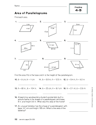Area of Parallelograms, Practice 4-5 Worksheet for 6th - 8th Grade ...