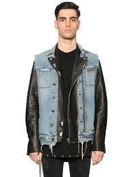 rta denim vest leather biker jacket black blue men clothing jackets rta road