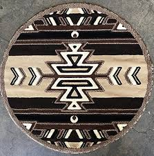 southwest native american round area rug beige brown carpet king design 113 7 feet 3 inch