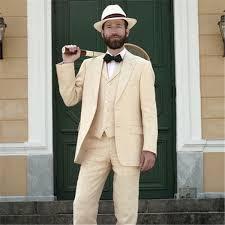 <b>Champagne</b> Tan <b>Linen Men</b> Suit Jacket+Pants+Vest+Tie Classic ...