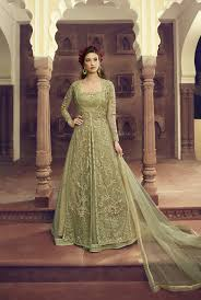 New Dress Design Pic Pista Green Net Gown Style Indian New Design Salwar Kameez