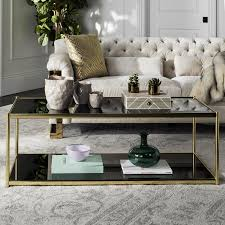 safavieh zola gold glass coffee table