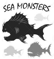海の怪物を設定します深海魚黒と白は白い背景で隔離の図を描くフリーハンド